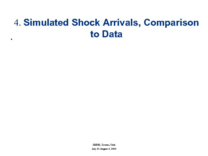 4. Simulated Shock Arrivals, Comparison to Data • SHINE, Zermat, Utah July 31 -August