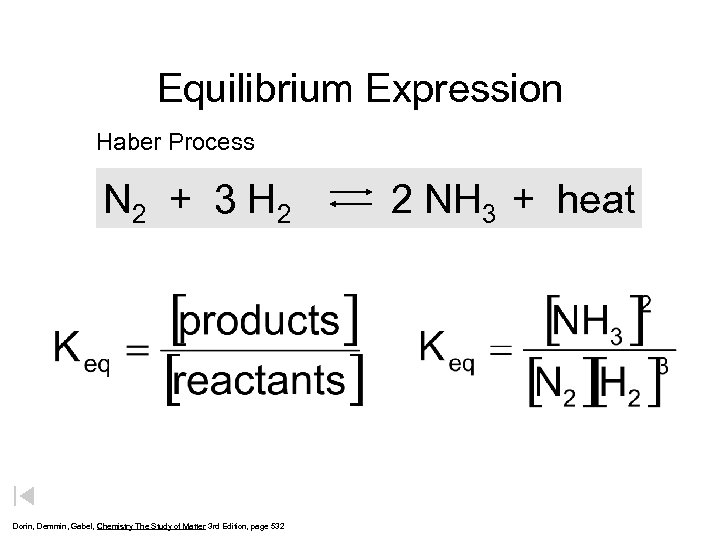 Equilibrium Expression Haber Process N 2 + 3 H 2 Dorin, Demmin, Gabel, Chemistry