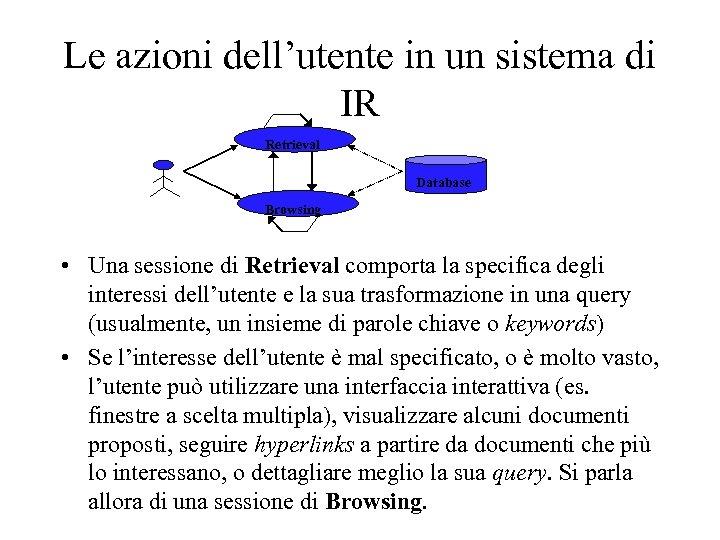 Le azioni dell'utente in un sistema di IR Retrieval Database Browsing • Una sessione