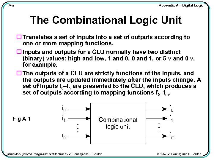 Appendix A—Digital Logic A-2 The Combinational Logic Unit Translates a set of inputs into