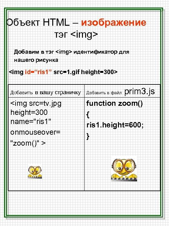 Объект HTML – изображение тэг <img> Добавим в тэг <img> идентификатор для нашего рисунка