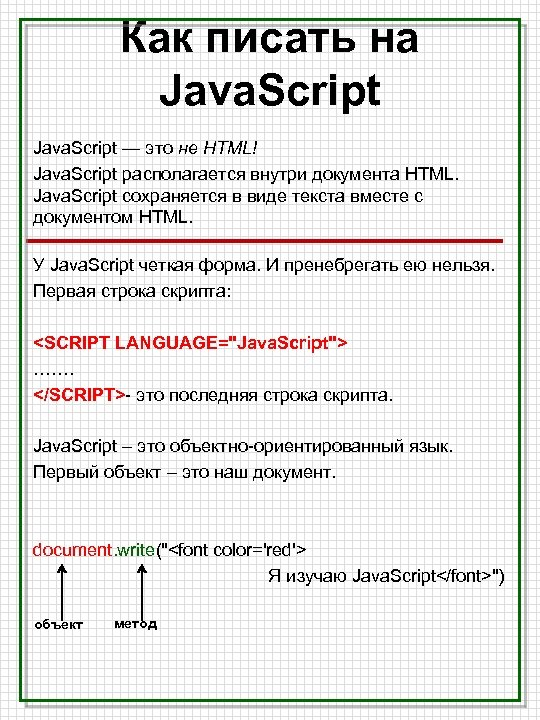 Как писать на Java. Script — это не HTML! Java. Script располагается внутри документа