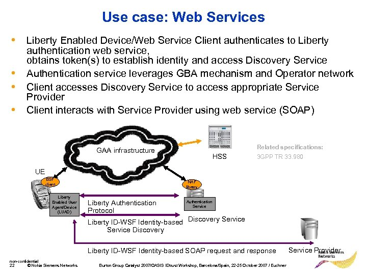 Use case: Web Services • Liberty Enabled Device/Web Service Client authenticates to Liberty •