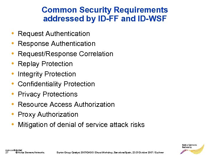 Common Security Requirements addressed by ID-FF and ID-WSF • • • Request Authentication Response