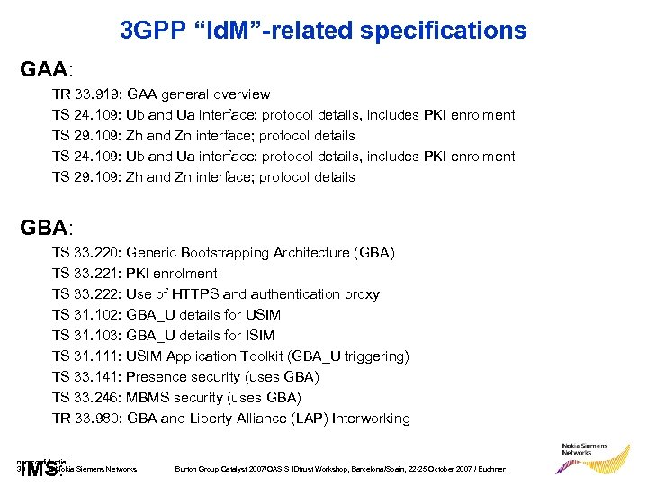 "3 GPP ""Id. M""-related specifications GAA: TR 33. 919: GAA general overview TS 24."