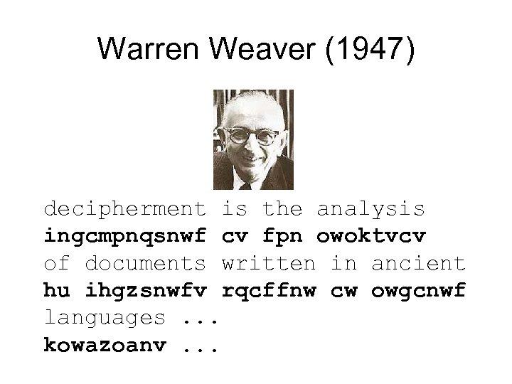 Warren Weaver (1947) decipherment is the analysis ingcmpnqsnwf cv fpn owoktvcv of documents written