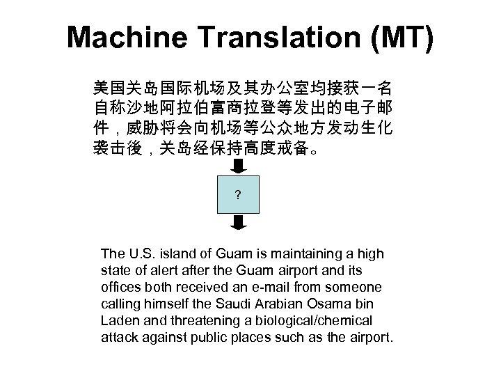 Machine Translation (MT) 美国关岛国际机场及其办公室均接获一名 自称沙地阿拉伯富商拉登等发出的电子邮 件,威胁将会向机场等公众地方发动生化 袭击後,关岛经保持高度戒备。 ? The U. S. island of Guam