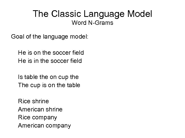 The Classic Language Model Word N-Grams Goal of the language model: He is on