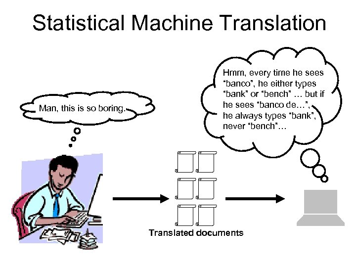 """Statistical Machine Translation Man, this is so boring. Hmm, every time he sees """"banco"""","""