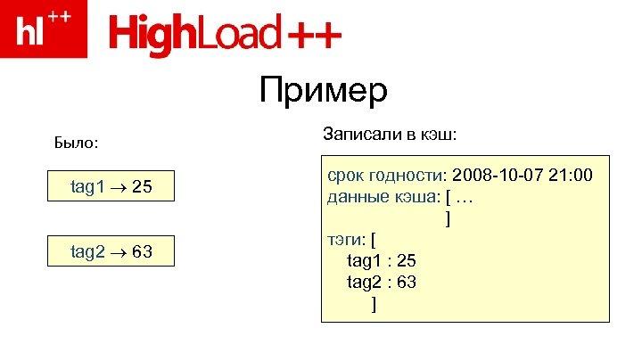 Пример Было: tag 1 25 tag 2 63 Записали в кэш: срок годности: 2008