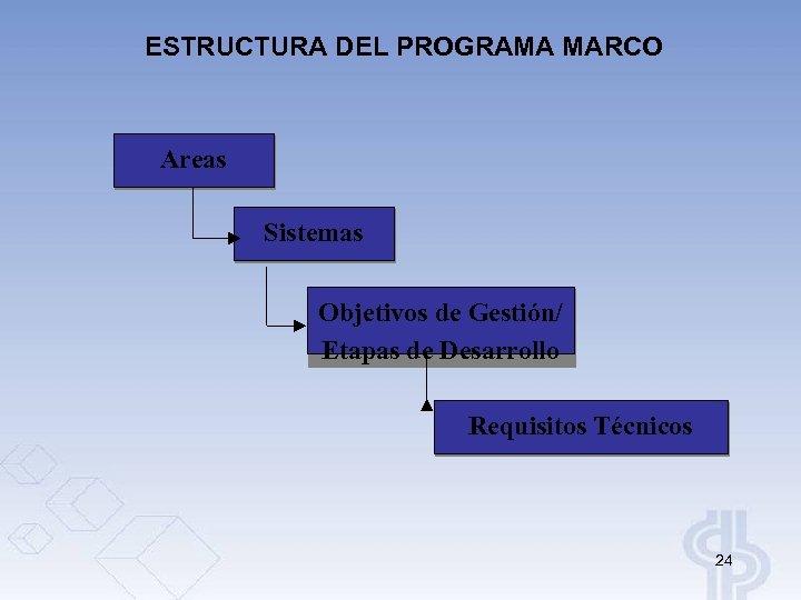 ESTRUCTURA DEL PROGRAMA MARCO Areas Sistemas Objetivos de Gestión/ Etapas de Desarrollo Requisitos Técnicos