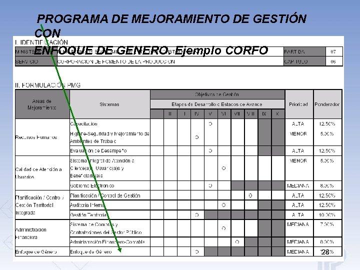 PROGRAMA DE MEJORAMIENTO DE GESTIÓN CON ENFOQUE DE GENERO. Ejemplo CORFO 28