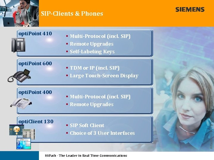 SIP-Clients & Phones opti. Point 600 opti. Point 400 opti. Client 130 § Multi-Protocol