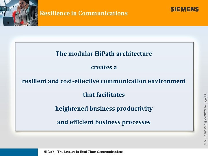 Resilience in Communications The modular Hi. Path architecture creates a that facilitates heightened business