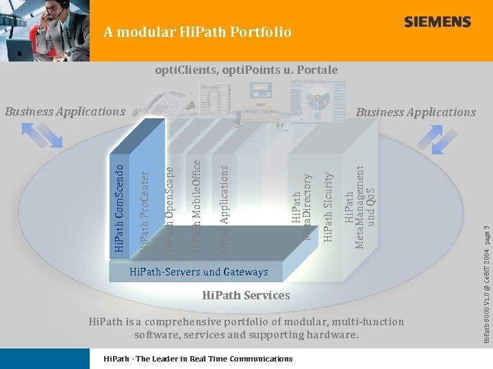 A modular Hi. Path Portfolio opti. Clients, opti. Points u. Portale Hi. Path-Servers und