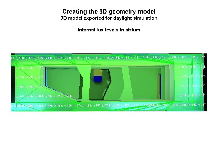 Creating the 3 D geometry model 3 D model exported for daylight simulation Internal