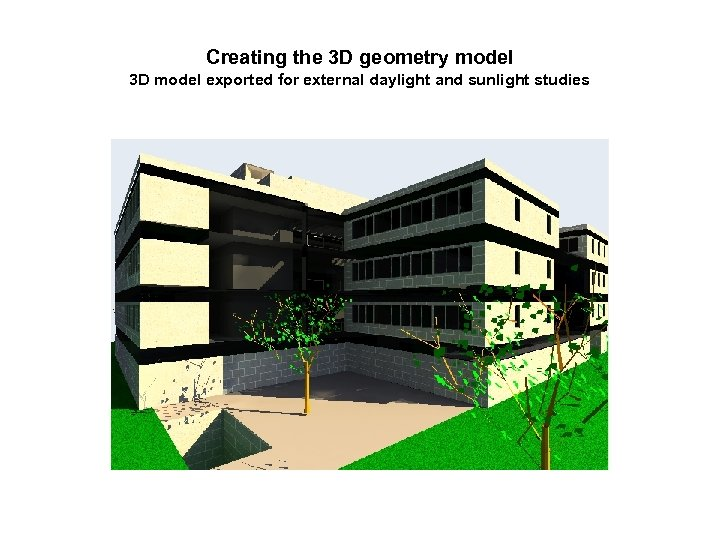 Creating the 3 D geometry model 3 D model exported for external daylight and