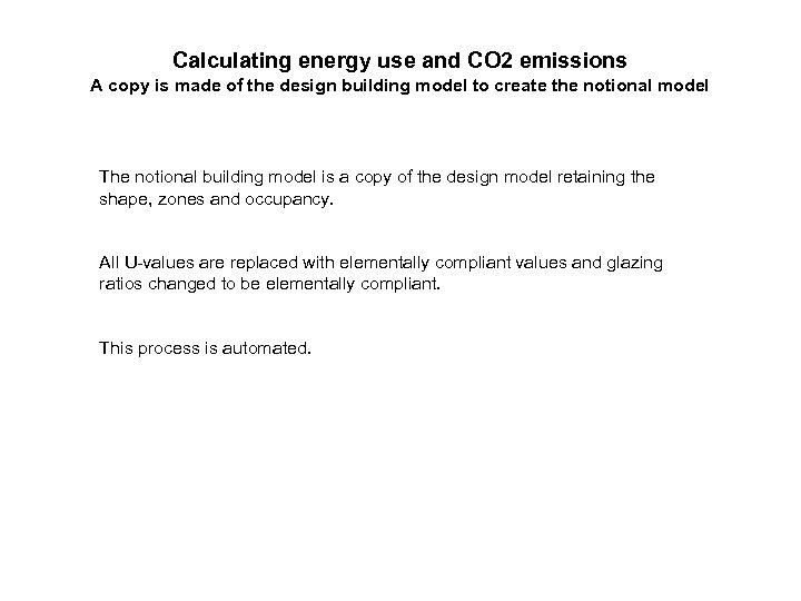 Calculating energy use and CO 2 emissions A copy is made of the design
