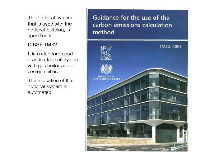 The notional system, that is used with the notional building, is specified in CIBSE