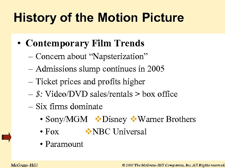 "History of the Motion Picture • Contemporary Film Trends – Concern about ""Napsterization"" –"