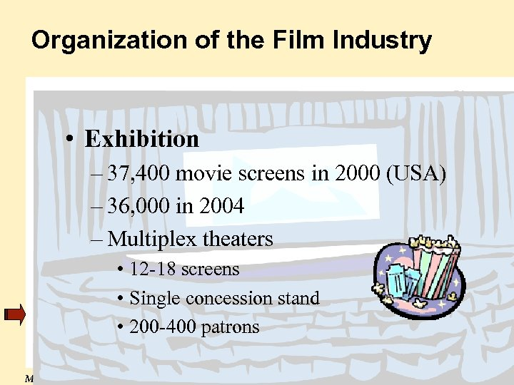 Organization of the Film Industry • Exhibition – 37, 400 movie screens in 2000