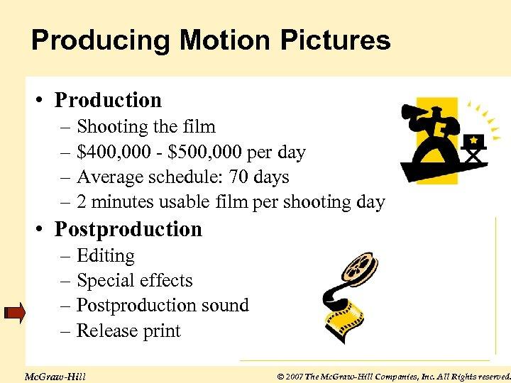 Producing Motion Pictures • Production – Shooting the film – $400, 000 - $500,