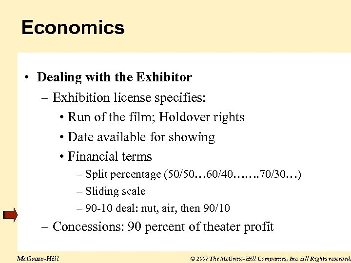 Economics • Dealing with the Exhibitor – Exhibition license specifies: • Run of the