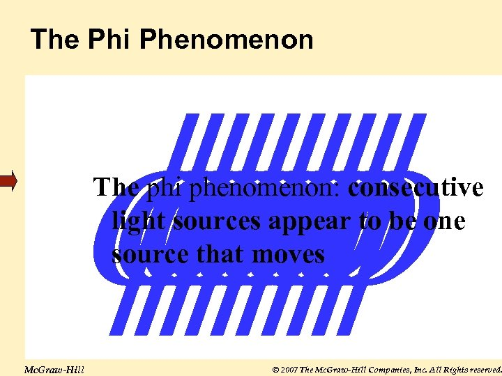 The Phi Phenomenon The phi phenomenon: consecutive light sources appear to be one