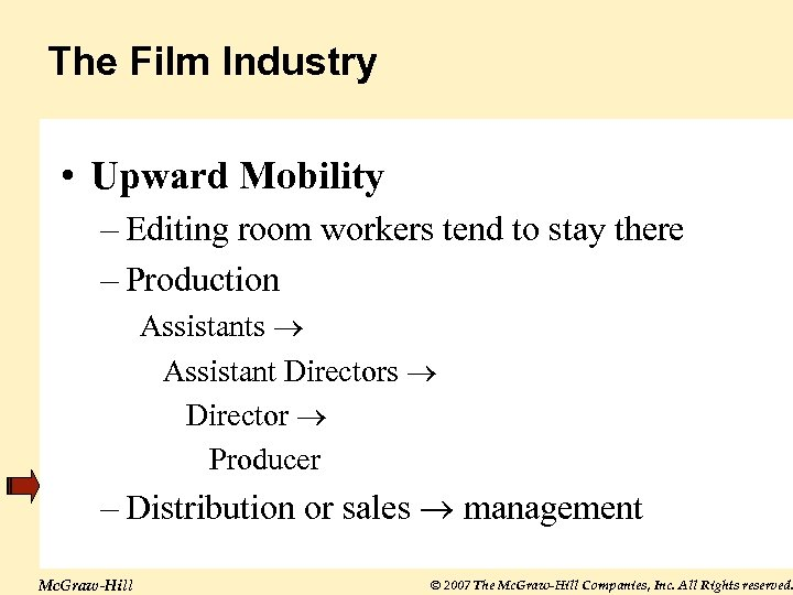 The Film Industry • Upward Mobility – Editing room workers tend to stay there