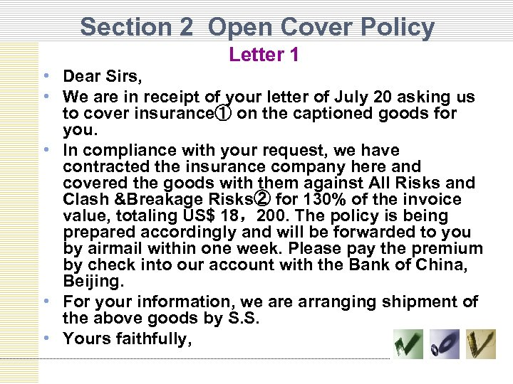 Section 2 Open Cover Policy Letter 1 • Dear Sirs, • We are in