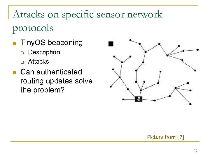 Attacks on specific sensor network protocols n Tiny. OS beaconing q q n Description