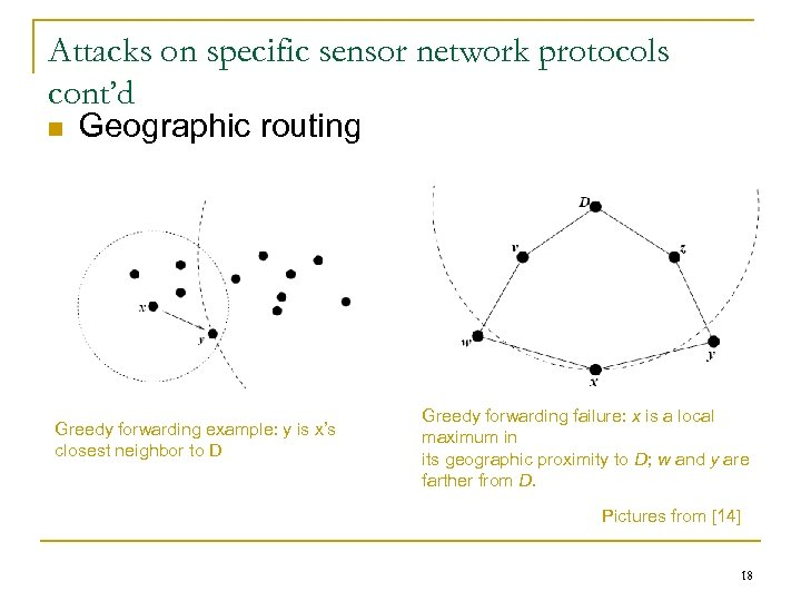 Attacks on specific sensor network protocols cont'd n Geographic routing Greedy forwarding example: y