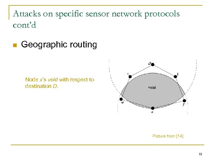 Attacks on specific sensor network protocols cont'd n Geographic routing Node x's void with
