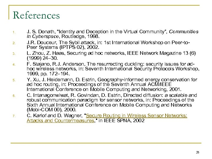 """References 1. 2. 3. 4. 5. 6. 7. J. S. Donath, """"Identity and Deception"""