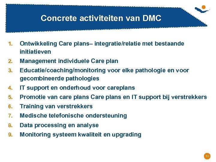 Concrete activiteiten van DMC 1. Ontwikkeling Care plans– integratie/relatie met bestaande initiatieven 2. Management