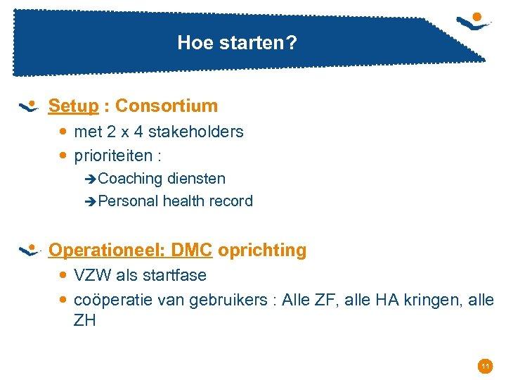 Hoe starten? Setup : Consortium met 2 x 4 stakeholders prioriteiten : èCoaching diensten