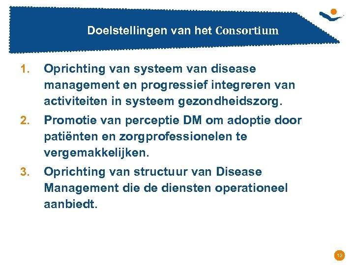 Doelstellingen van het Consortium 1. Oprichting van systeem van disease management en progressief integreren