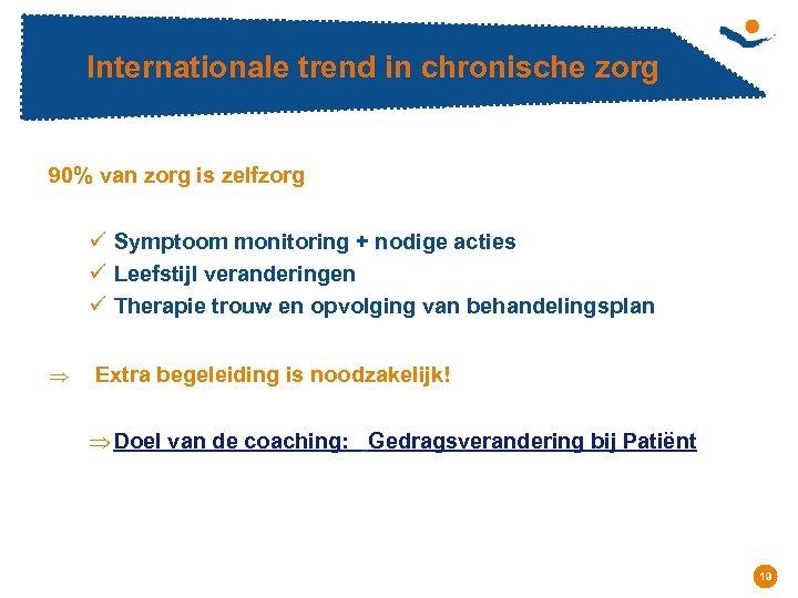 Internationale trend in chronische zorg 90% van zorg is zelfzorg ü Symptoom monitoring +
