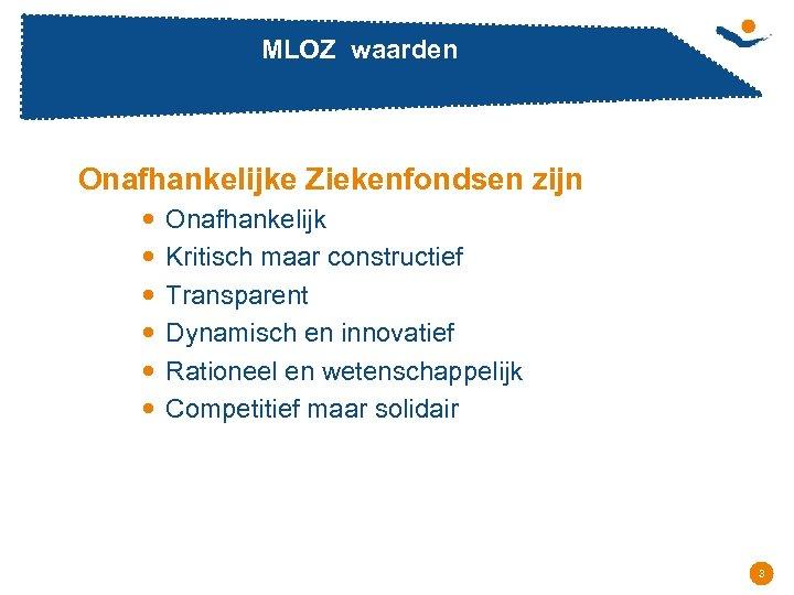 MLOZ waarden Onafhankelijke Ziekenfondsen zijn Onafhankelijk Kritisch maar constructief Transparent Dynamisch en innovatief Rationeel