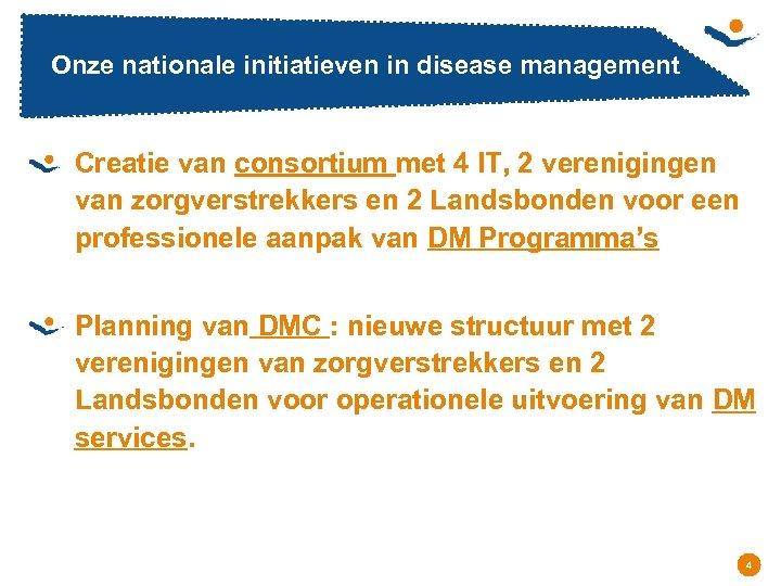 Onze nationale initiatieven in disease management Creatie van consortium met 4 IT, 2 verenigingen