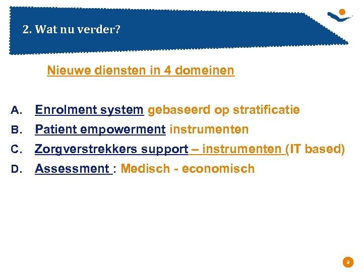 2. Wat nu verder? Nieuwe diensten in 4 domeinen A. Enrolment system gebaseerd op