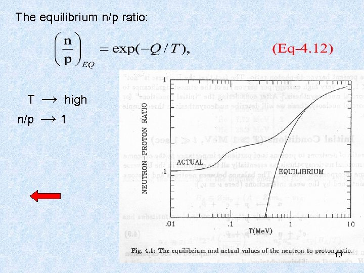 The equilibrium n/p ratio: T n/p → high → 1 10