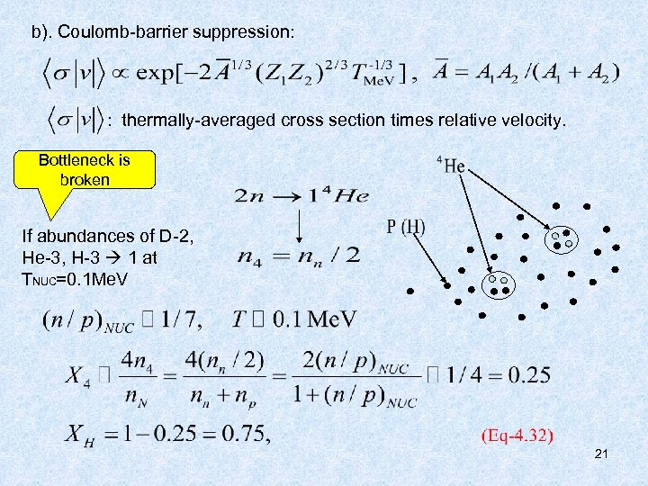 b). Coulomb-barrier suppression: : thermally-averaged cross section times relative velocity. Bottleneck is broken If