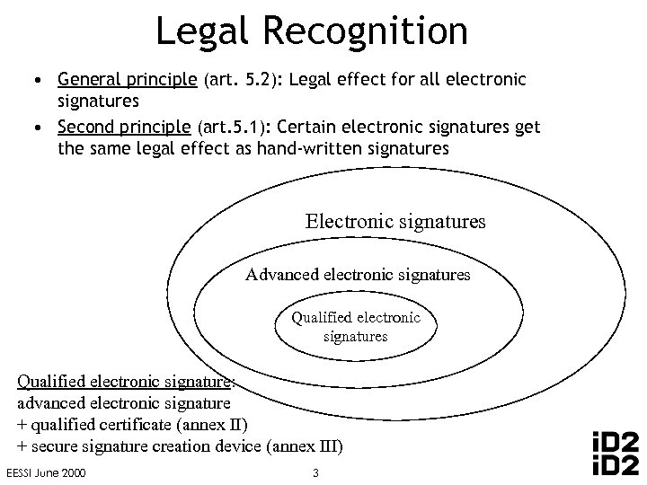 Legal Recognition • General principle (art. 5. 2): Legal effect for all electronic signatures