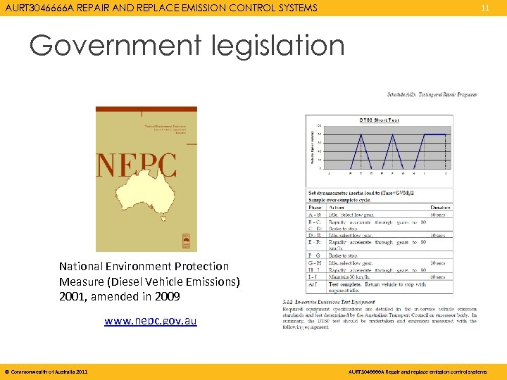 AURT 3046666 A REPAIR AND REPLACE EMISSION CONTROL SYSTEMS 11 Government legislation National Environment