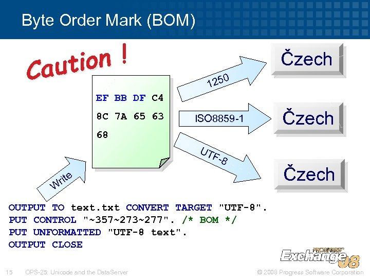 Byte Order Mark (BOM) on ! auti C Čzech 0 125 EF BB DF