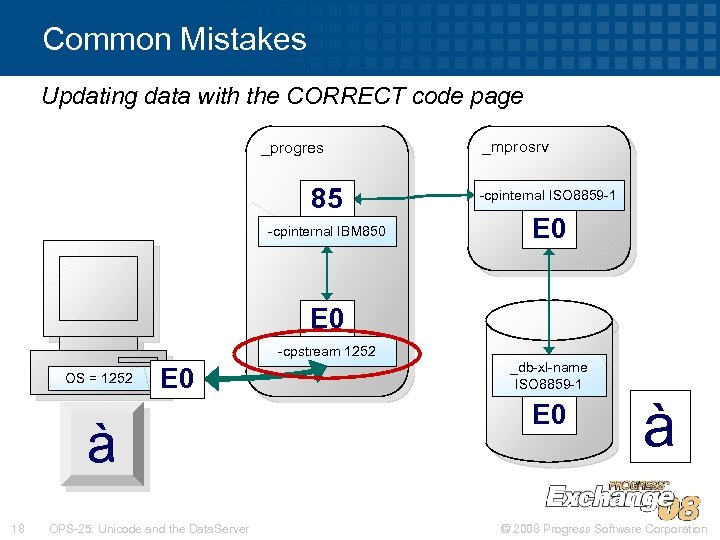 Common Mistakes Updating data with the CORRECT code page _progres 85 -cpinternal IBM 850