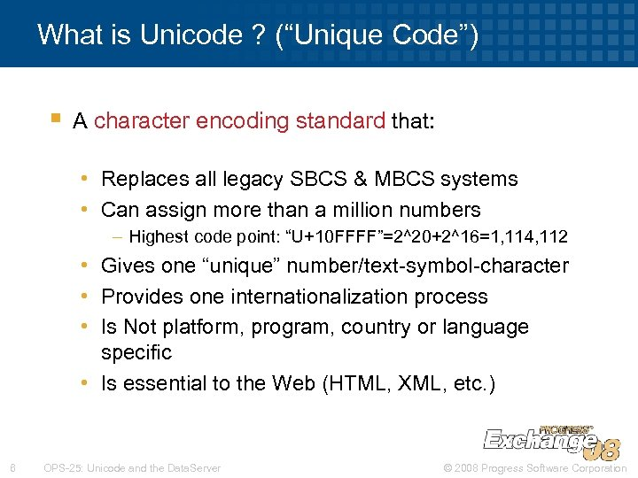 "What is Unicode ? (""Unique Code"") § A character encoding standard that: • Replaces"