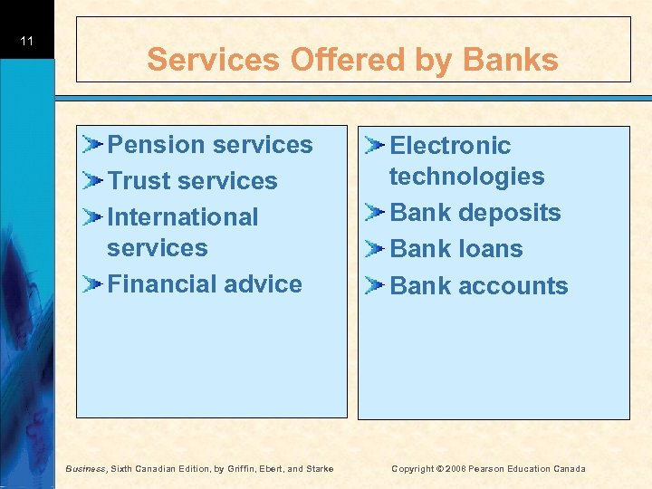 11 Services Offered by Banks Pension services Trust services International services Financial advice Business,