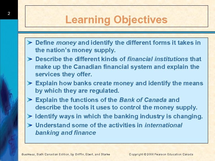 2 Learning Objectives Define money and identify the different forms it takes in the